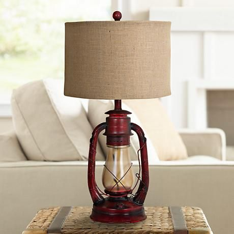 Industrial Lantern Table Lamp with Night Light - #2V218 | www.lampsplus.com