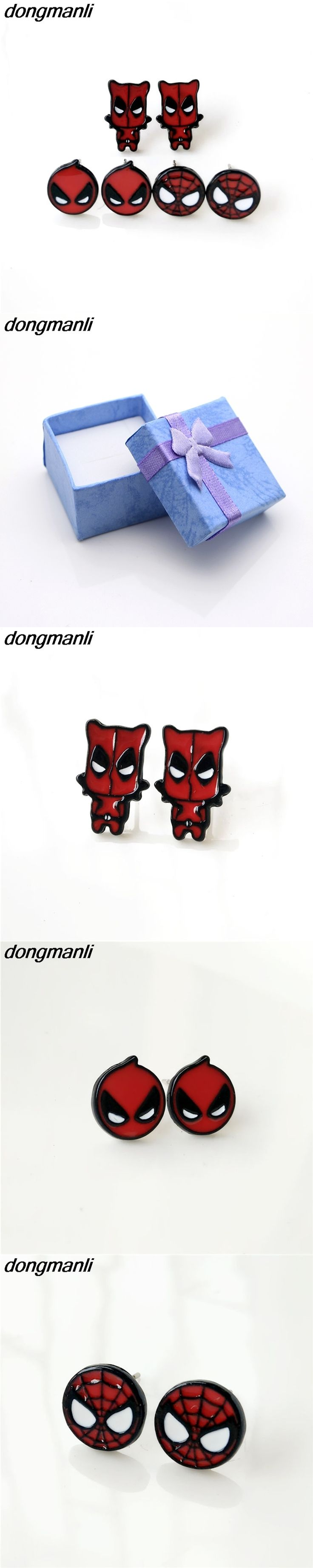 P346 dongmanli Hot Sale Classic Cartoon Anime Cute  Deadpool Spider-Man Homecoming Stud earrings for women Girl Children Gift