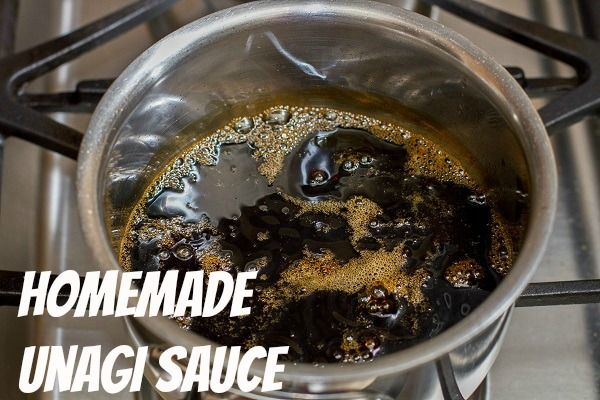 Sweet and flavorful homemade unagi sauce recipe, just need soy sauce, mirin, sake, and sugar.