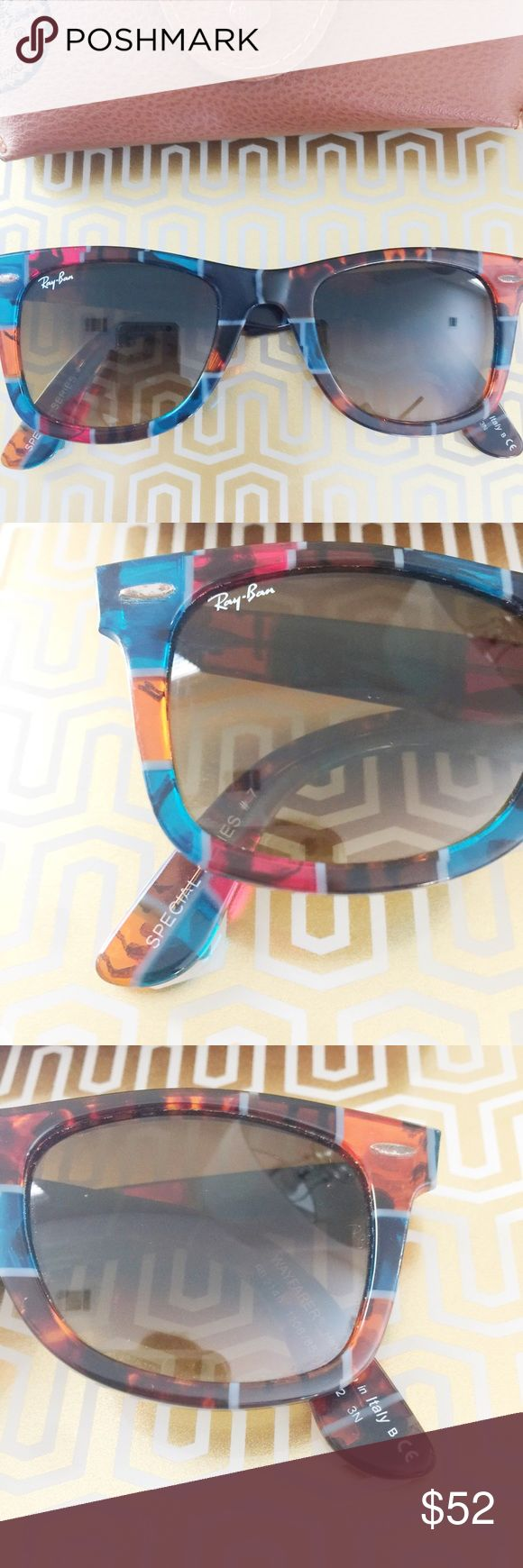 Ray-ban Printed Wayfarers Super fun and classic Ray-Ban Wayfarers perfect for a funky, chic look! Worn a ton while living in Hawaii with some light/minor scratches on the lenses as well as some miscoloration on the corner pierces - priced accordingly! Reasonable offers always accepted. Bundle more to save more ❤️✨ Ray-Ban Accessories Sunglasses