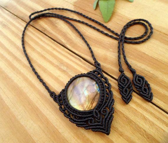 Labradorite macrame necklace macrame stone by SelinofosArt on Etsy