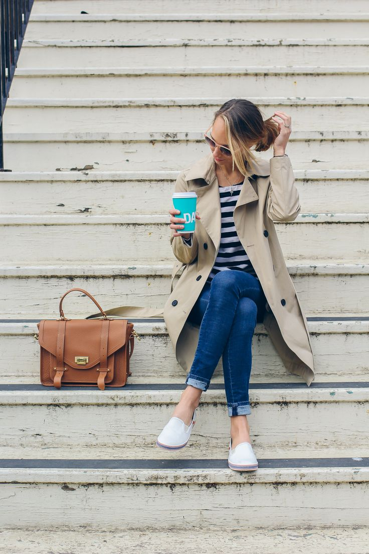 trench coat, Keds slip-ons, striped tee, casual outfit — via @TheFoxandShe