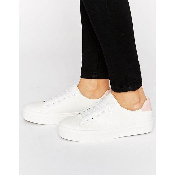 Blink Soft Toecap Lace Up Trainer ($30) ❤ liked on Polyvore featuring shoes, sneakers, white, blink sneakers, lace up sneakers, lacing sneakers, vegan sneakers and white lace up sneakers