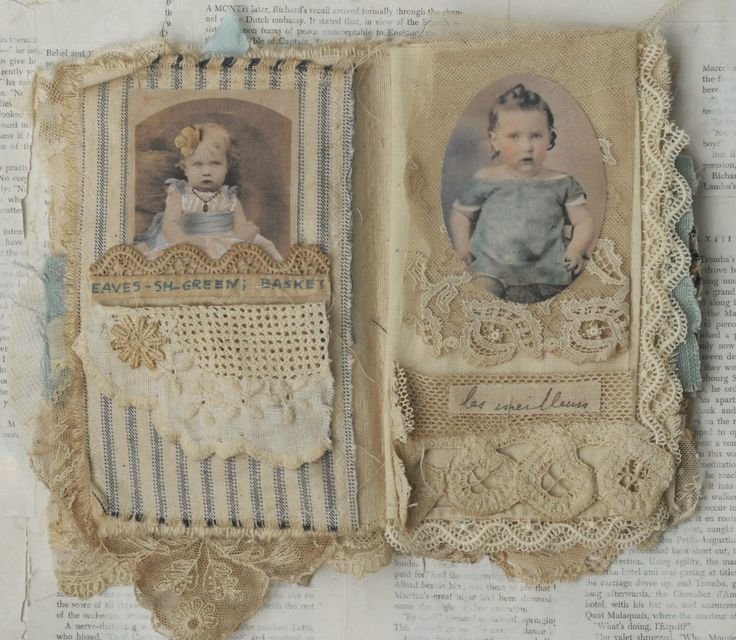 Mixed Media Fabric Collage Book French Babes | eBay