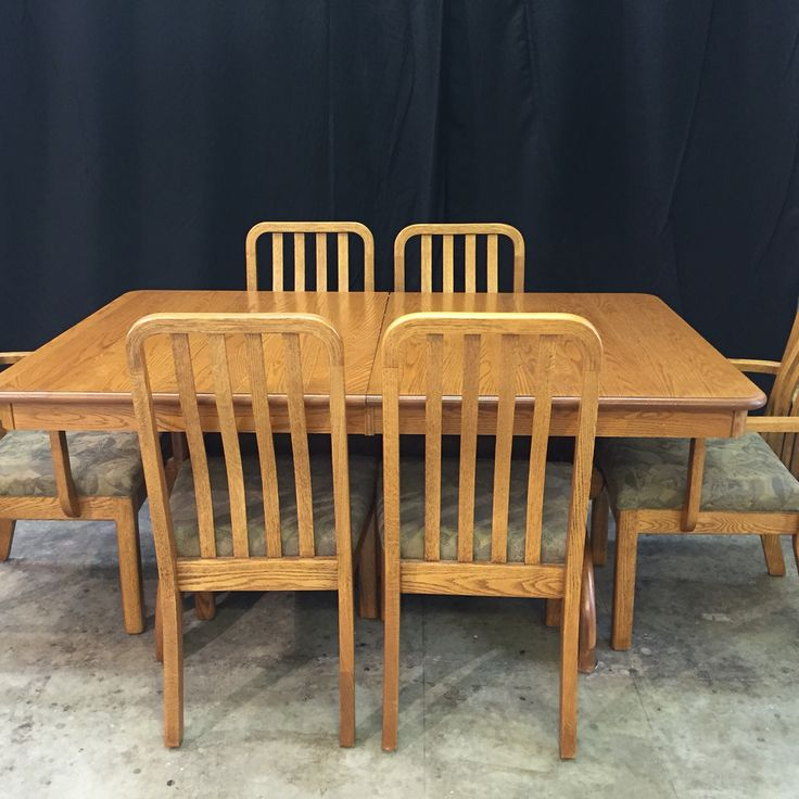 The Gilliland's project: #oak #dining #table with 4 #leafs. 6 #dining #chairs needs to be #refinished to #match a #coffee #table I did for them in 2013