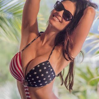 Denise Milani big boobs in US printed Bra