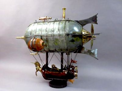 Steampunk Blimp - Two soda bottles with necks cut off - assembled end to end .. makes a great balloon base ...