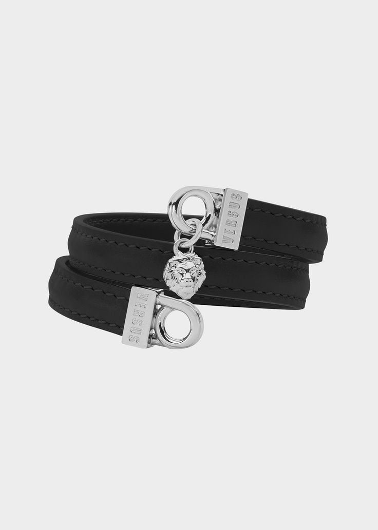 Versus Versace Versus Logo Leather Wrap Bracelet for Women | US Online Store. Versus Logo Leather Wrap Bracelet from Versus Versace Women's Collection. Wrap leather bracelet, with Versus logo ring and Lion links.