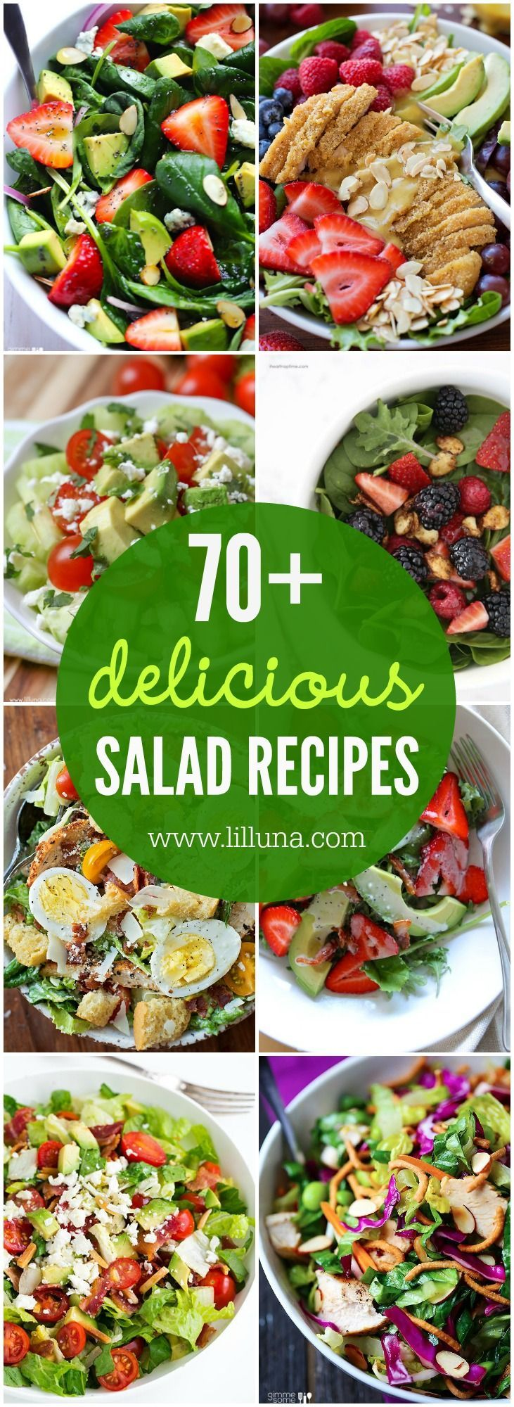 A delicious and huge collection of the BEST salad recipes on the web. From sweet to savory, there are so many options to choose from!