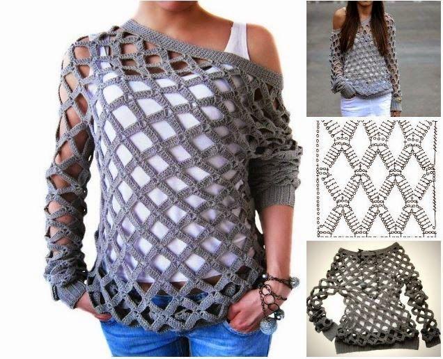 DIY Crochet Diamond Open Weave Net Sweater Free Pattern and Video tutorial ~ Atlas Ideas