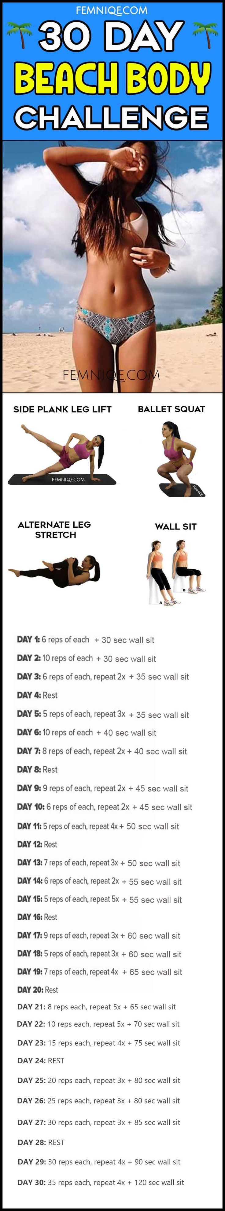 30 Day Beach Body Challenge - Do you want that sexy summer body? then here is a 30 day summer body challenge that can sculpt your butt, thighs, abs and upper body.