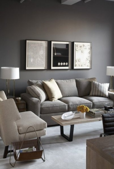 Gray themed living room. This is how I want my living room! Maybe with a few yellow accent pillows though.