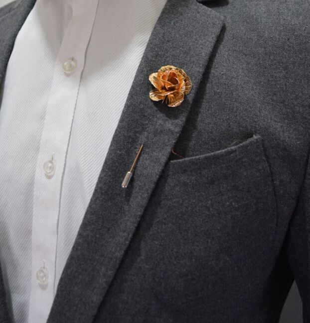 Bovvsky Gold Plated Rose Flower Brooch Pin Men suit Accessories Classic Lapel Pins for Men's Suit Wedding Party Long Pin