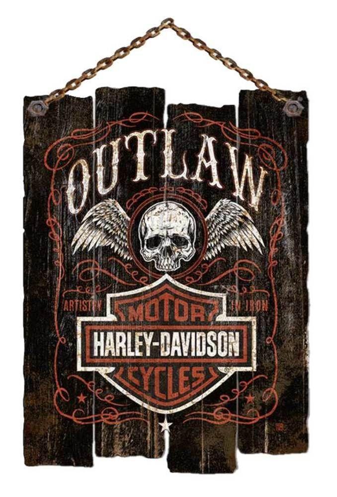 Details about Harley-Davidson Irregular Edge Outlaw Wooden Slat Sign, Black CU97-OL-AD-HARL