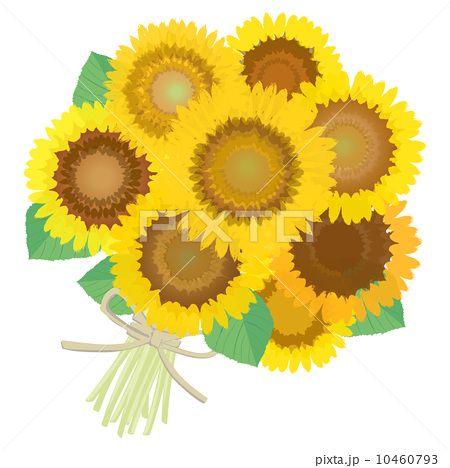 ヒマワリの素敵な花束イラストアイデア