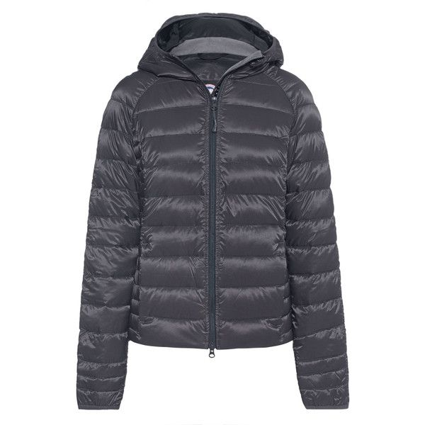 Canada Goose Brookvale Hoody Grey // Quilted down jacket (£425) ❤ liked on Polyvore featuring outerwear, jackets, zipper pocket jacket, quilted down jackets, quilted hooded jacket, hooded down jacket and down jacket