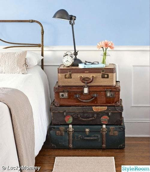 antique & vintage suitcases as nightstand