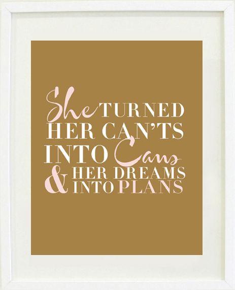 """Dreams Into Plans"" print poster"
