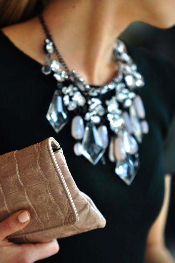 Style Tip: use bold accessories like a chandelier necklace to make outfits
