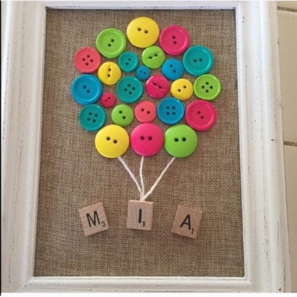 Personalized button balloon scrabble tile frame Make one for your kids room, gifts for a baby shower, nursery, etc!! Sizes are 5x7 for $25 and 8x10 for $30. Let me know if you'd love a custom listing!  Frame thickness may vary. Turn around time 24-48 hours. MADE TO ORDER. WILL INCLUDE ITEMS FOR FREE WHEN FEASIBLE--Ask me for details!! Extra discounting on bundles and single items as well!! Other