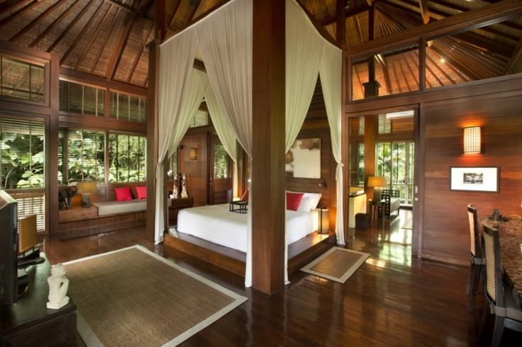 Wooden bedroom with high ceilings | Luxury Holiday House, Bali,