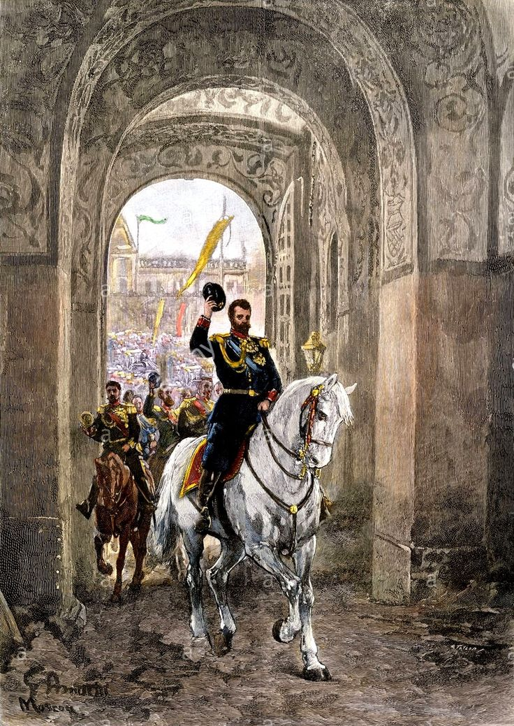 Tsar Nicholas II entering the Kremlin gate for his coronation, 1896.