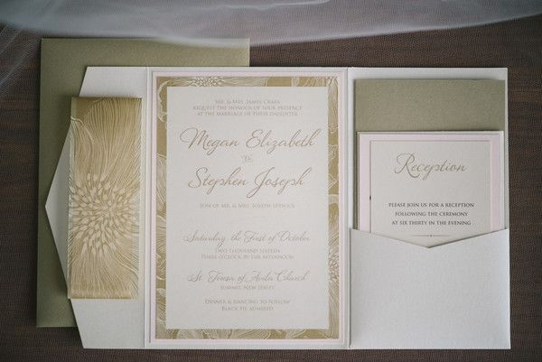 Paul Francis Photography The formal invitations featured white and gold hues.  Ceremony Venue: St. Teresa of Avila Church Reception Venue:  Westmount Country Club Stationery: