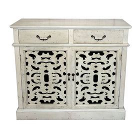 Picture of 2-Drawer 2-Door Burnout White Cabinet