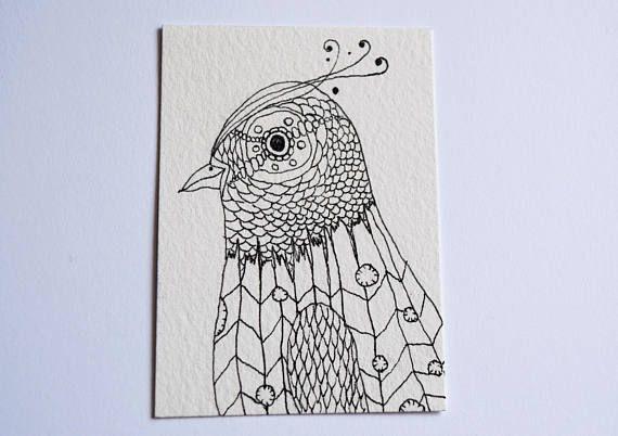Original ACEO ATC: Black and White Bird Drawing MelanieReevesArtEtsy