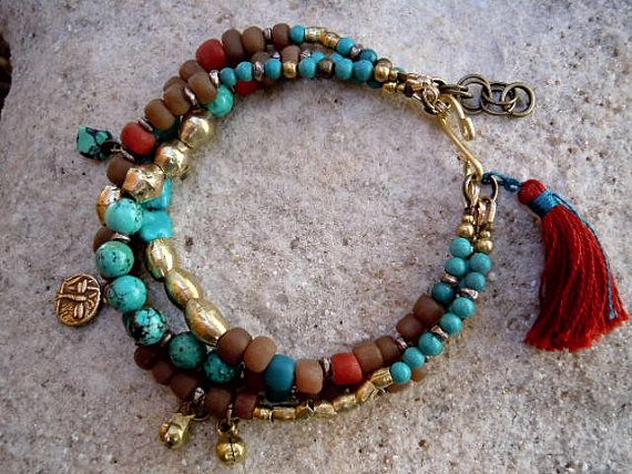 Turquoise / Trade Beads / Bohemian Bracelet / Gypsy / by Syrena56, $49.00