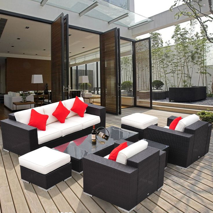 Outsunny 7pc Outdoor Rattan Wicker Sofa Seat Chair Couch Sectional Furniture Set #Outsunny