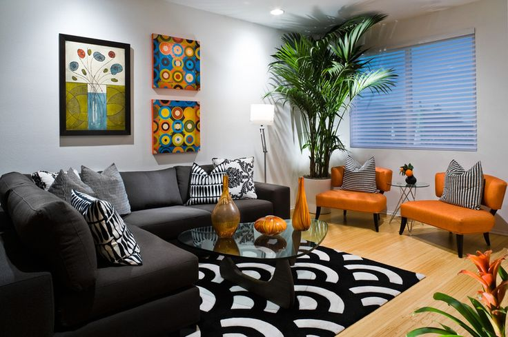 Nice use of color and pattern! Contemporary family room by Michelle Harrison Design #interiordesign