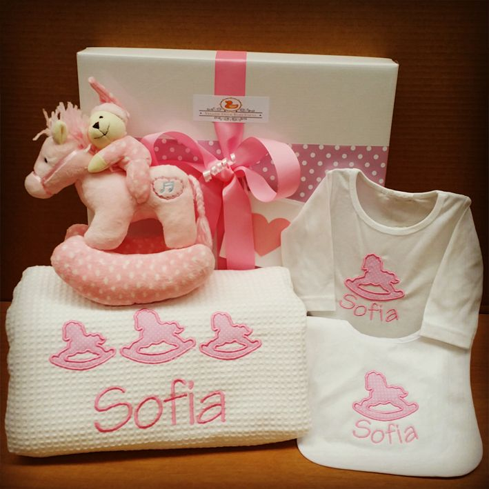 Pretty in pink, special rocking horse hamper for baby Sofia.