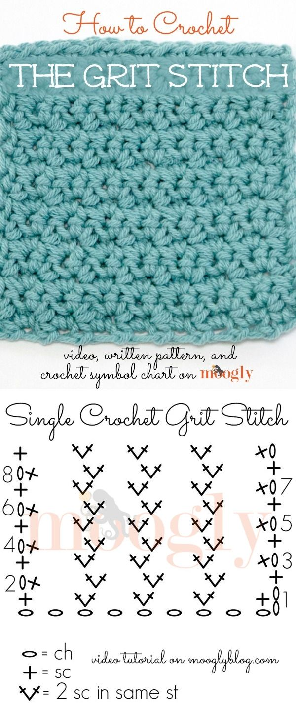 How to crochet the grit stitch ~ Start with a foundation chain that is any multiple of 2 sts, plus 1. Row 1: Ch as described above, sc in the 3rd ch from the hook, *skip the next ch, 2 sc in the next ch; repeat from * until 2 ch remain, skip the next ch, sc in the last ch, turn. Row 2: Ch 1, sc in first st, *skip the next st, 2 sc in the next st; repeat until 1 st remains, skip the st and sc into the turning ch, turn. Repeat Row 2 until you're done. Thanks to Tamara of Mooglyblog :-)