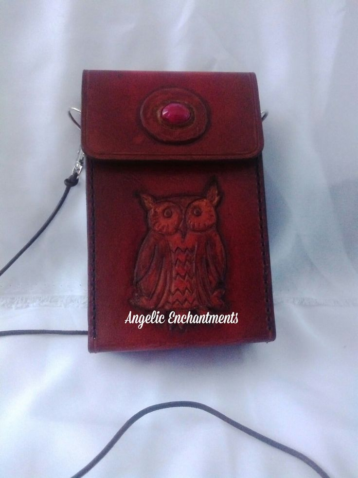 BROWN LEATHER BAG WITH OWL ENGRAVED