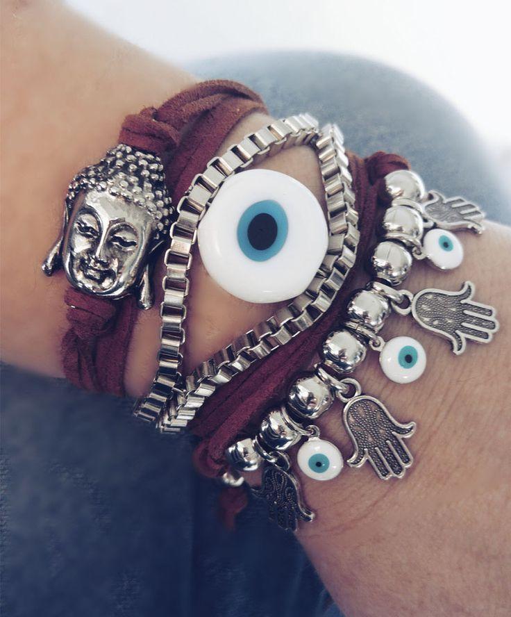 pulseira com olho grego, pulseira com pingentes de olho grego hansa buda,bijoux finas atacado, acessórios da moda atacado,revenda de acessórios femininos,