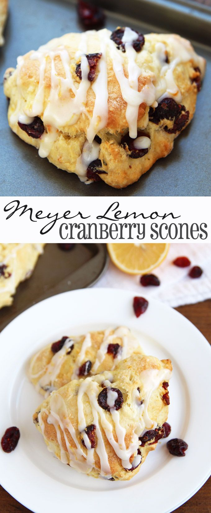 Meyer Lemon Cranberry #Scones - a perfect sweet & tart breakfast or afternoon treat