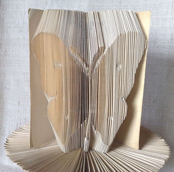 Book folding pattern and FREE Tutorial - Butterfly Silhouette - folded book art, origami, gift #bookfolding #bookfoldingpattern #foldedbookart #booksculpture #papersculpturebook #origamibook #weddinggift #weddinganniversary #birthdaygift #patterntutorial #recycledbook #homedecor #craft #gift #butterfly by #PatternsStore