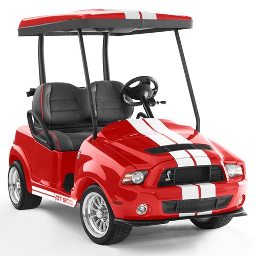 Shelby GT500 Golf Cart ... thinkin' this just might be the red convertible i must have for my 50th.
