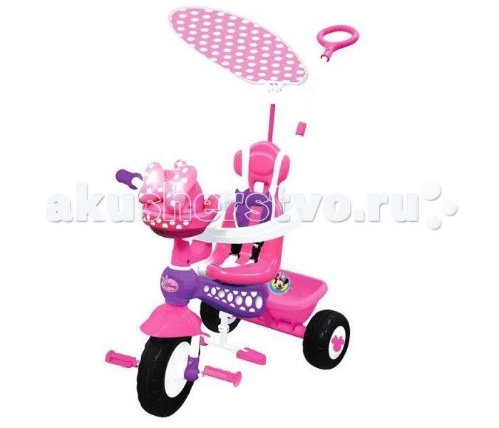 Велосипед трехколесный Kiddieland Минни Маус с ручкой  Велосипед трехколесный Минни Маус - замечательный детский велосипед. Такой велосипед обязательно понравится Вашему ребенку. С таким велосипедом не будет скучно на прогулке.   Характеристики: Подойдет для детей от 1 года Велосипед выполнен из высококачественных материалов Рама и ручка велосипеда металлические Козырек текстильный У велосипеда есть родительская ручка, которая управляет передним колесом Есть специальный барьер и фиксирующие…
