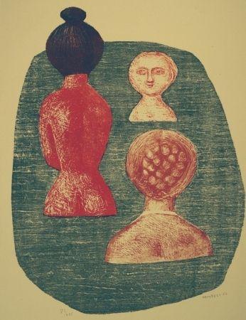 Litografia - Massimo Campigli - Donne a Ischia