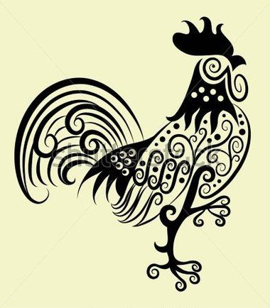 Decorative Rooster and Flora Ornaments, Leaf, Flower, Nature Decoration for Tattoo Design stock vector - Clipart.me