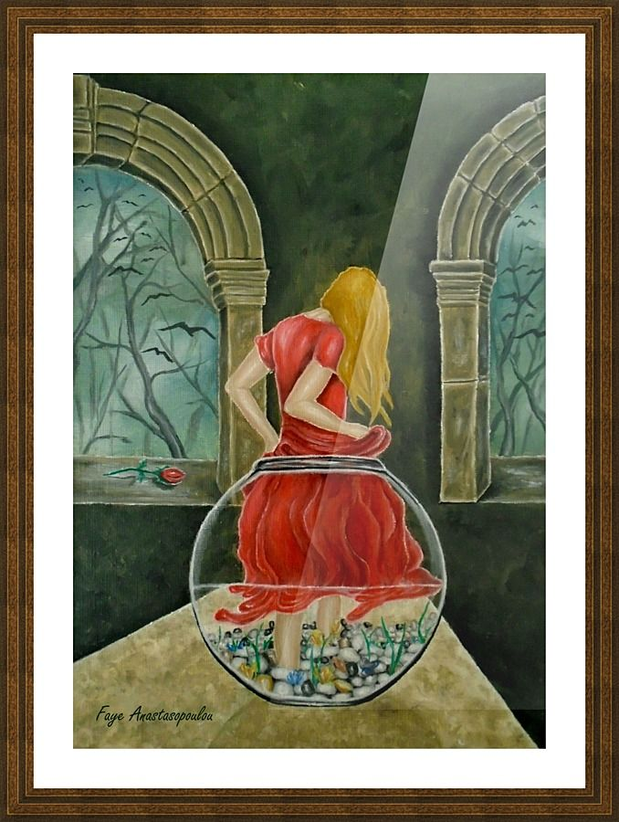 Framed Art Print, Painting, fishjar,fishbowl,girl,woman,female,feminine,figure,red,dress,long,hair,fantasy,medieval,building,arches,interior,night,mystical,psychedelic,whimsical,vibrant,vivid,colorful,impressive,cool,beautiful,delicate,magical,classical,mystery,dreamy,dreamlike,contemporary,imagination,surreal,figurative,contemporary,cool,weird,unique,jar of wonders, fine,oil,wall,art,images,home,office,decor,artwork,modern,items,ideas,for sale,pictorem