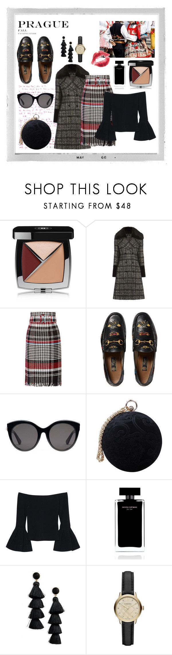 """""""Bussiness Travel To-Go Look"""" by alfalovina on Polyvore featuring Polaroid, Chanel, Oscar de la Renta, Gucci, Carvela, Alexis, Narciso Rodriguez, BaubleBar and Burberry"""
