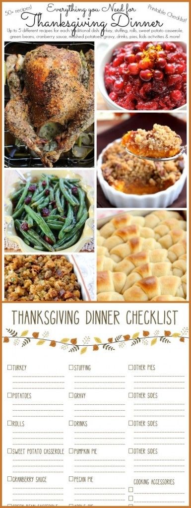 Everything you Need for Thanksgiving Dinner with Printable Checklist including 3-5 recipes for turkey, stuffing, rolls, sweet potato casserole, green beans, cranberry sauce, mashed potatoes, gravy, drinks, pies, kids activities and more!