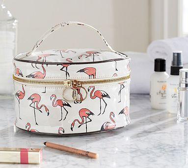 Flamingo Train Case #potterybarn..........EEKS!  I'd want the whole set of luggage!!!