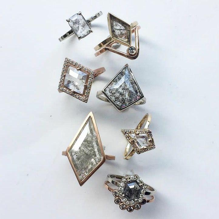 61 best geometric engagement rings images on pinterest for Geometric wedding ring