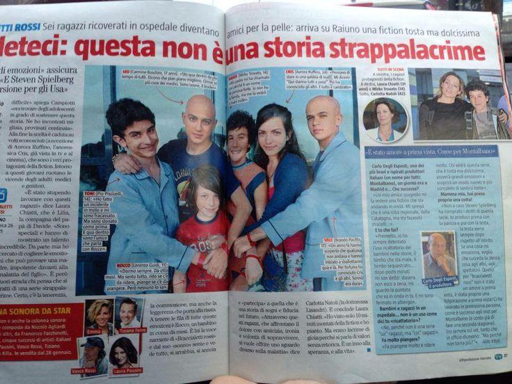 Pagina di Giornale riguardante La Fiction Braccialetti Rossi