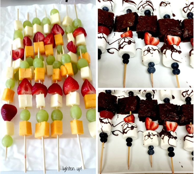 entertaining is easy with these appetizer and dessert kabobs! cheeses/fruit and brownies/marshmallows make the perfect party foods! #kabobs #easyentertaining