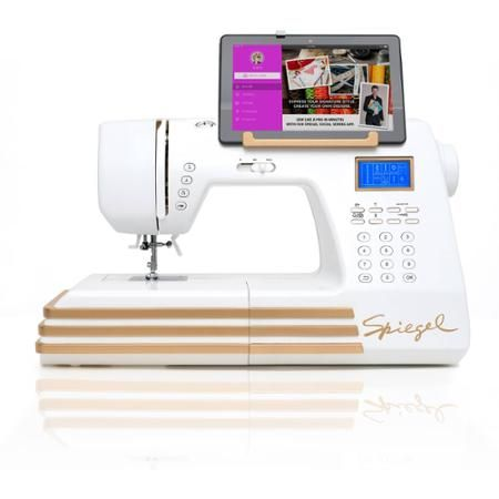Spiegel Sewing Machine, 60609 - Interesting. Machine uses a smart phone/tablet interface. Their desc.- Can be connected to any WiFi-enabled device using Spiegel app & built-in WiFi station...., WiFi connectivity & USB charging station...built-in Stitch Cam can transmit real time video  directly to smart device..., ...machine features 350 built-in utility, decorative and embroidery stitches Purchase premium stitch bundles in iTunes or Android marketplace.